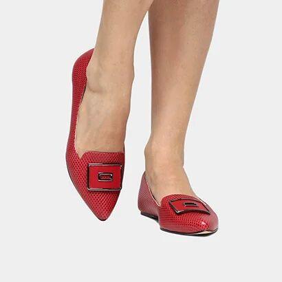 Sapatilha Shoestock Fivela - Feminino-Vermelho