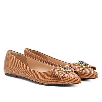 Sapatilha Shoestock Laço Medalha - Feminino-Caramelo