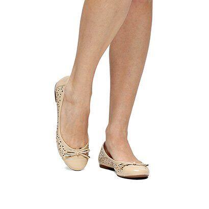 Sapatilha Shoestock Redondo Laser - Feminino-Bege