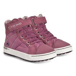 Viking Sagene Mid GTX Shoes Dark Pink and Violet Lasten kengt 33 EU