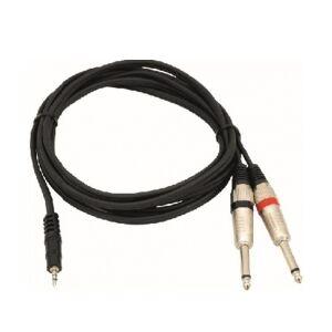 Omnitronic - Audiokabel 3,5mm st.JACK > 2 x 6,35mm mono JACK han (6m) TILBUD gt