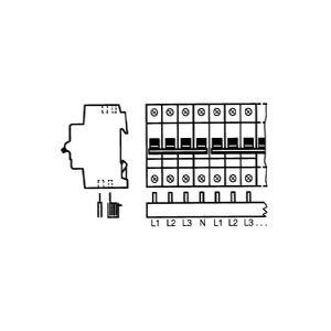 ABB Sløjfeskinner for S200, F200 og DS200 Fordeling, faser: 3 + N MCB Poltal-antal: 4-15 stk. Type: PS4/60/16