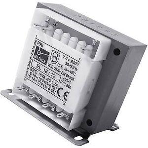 Block Blokk EL 18/6 Kontrolltransformator, isolasjon transformator, sikkerhet transformator 1 x 230 V 2 x 6 V AC 18 VA 1,50 en