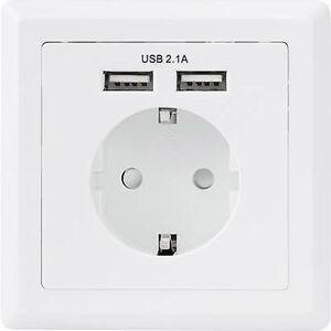 Basetech 1425527 Flush-mount socket inkl USB IP20 hvit
