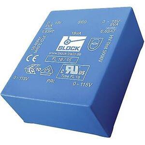 Block Blokk FL 10/15 PCB monteringstransformator 2 x 115 V 2 x 15 V AC 10 VA 333 mA