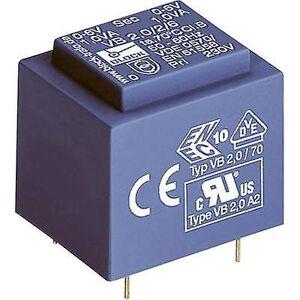 Block Blokk VB 2,0/2/9 PCB monteringstransformator 1 x 230 V 2 x 9 V AC 2 VA 111 mA