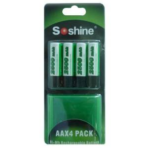Bestron Soshine 4x AA batteri (2500 mAh, Oppladbart)