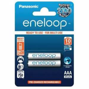 Panasonic Eneloop AAA uppladdningsbara batterier 750 mAh - 2 st