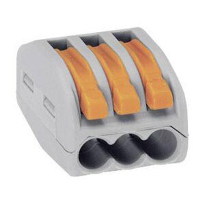 WAGO Kopplingsklämma Flexibel: 0.08-4 mm² Styvhet: 0.08-2.5 mm² Antal poler: 3 WAGO 222-413 50 st Grå, Orange