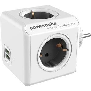 Grenuttag Powercube Grå, 4-vägs + 2 USB