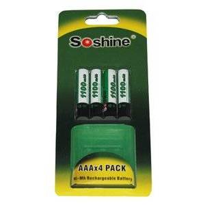Siemens Soshine 4x AAA batteri (1100 mAh, Laddningsbar)
