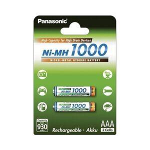 Panasonic High Capacity Laddningsbara 1000mAh AAA batterier 2-pack
