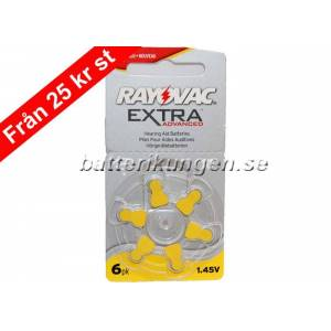 Rayovac A10 hörapparatsbatterier - 6 st