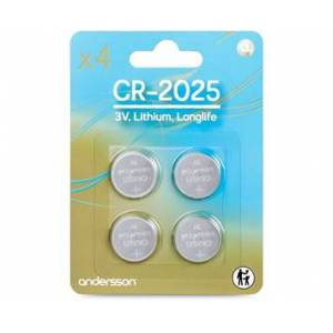 Andersson 4-pack CR2025 Longlife Knappcellsbatterier