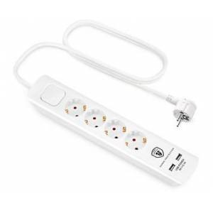 Andersson ELS 5.0 -  4 way with switch, USB 5V 2.1A, 1,5m White