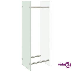 vidaXL Polttopuuteline valkoinen 40x35x120 cm lasi