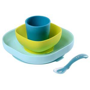 Beaba Barnservis 4 delar silikon blå och grön