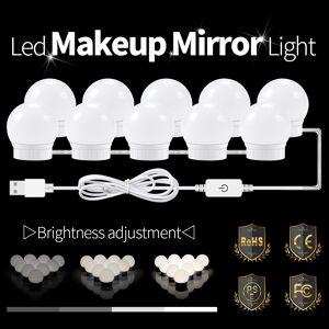 LED Vanity Mirror LED Lamp 12V USB LED Hollywood Makeup Lights Dressing Table Mirror Light Bulb US EU Plug Dimmable Wall Lamp