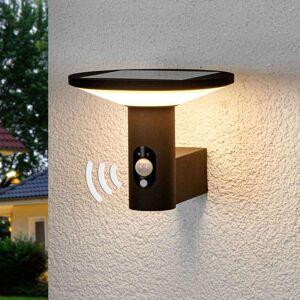 Lucande Rund LED-utevegglampe Jersy med solcellepanel