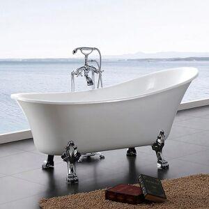 Bathlife Fossing Frittstående Badekar 1620x710 mm, Akryl, Hvit/Krom
