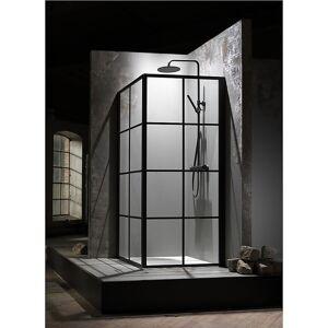 Macro Design Macro Empire Dusjhjørne, med sprosser 80x90 cm, Sort matt/Klart glass