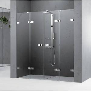 Novellini Gala 2 2A Slagdører m/sidefelt 175-180 cm,  Krom/Klart Glass