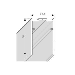 Novellini Young 2.0, H 200 mm Dyp veggprofil for dør, Matt Sort