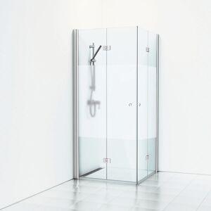 Svedbergs Skoga Hjørnedusj Foldedører 90x100 cm, Alu Matt/Halvfrost glass