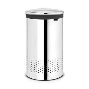 Brabantia Tvättkorg med metallock 60 L Blankputsat Stål