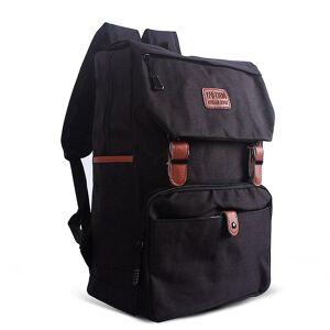 eStore Klassisk designet ryggsekk med skinn stropper-svart