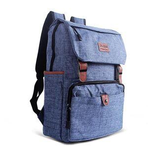 eStore Klassisk designet ryggsekk med skinn stropper-blå