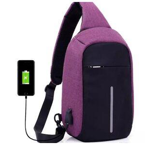 eStore Anti-Theft skulder bag med USB lading-lilla