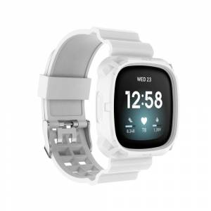INCOVER Fitbit Versa 3 Silikon Reim - Buckle - Hvit