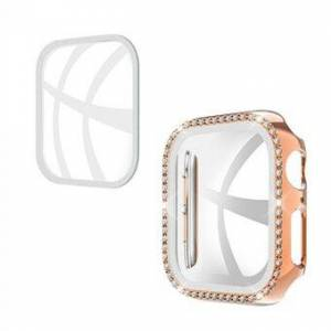 Rhinestone Decor PC-fodral för Apple Watch Series SE / 6/5/4 44MM med skärmskydd i härdat glas