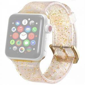 Flash Powder Silicone Armband Ersättning för Apple Watch Series 6 SE 5 4 44mm, Serie 3/2/1 42mm