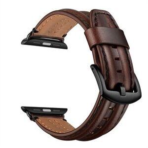Snyggt toppskikt äkta läderklockarmband för Apple Watch Series 6 SE 5 4 40mm, Series 3/2/1 38mm