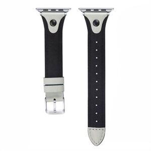 Canvas + äkta läder nitklockband för Apple Watch Series 6 / SE / 5/4 40mm / Series 3/2/1 Watch 38mm