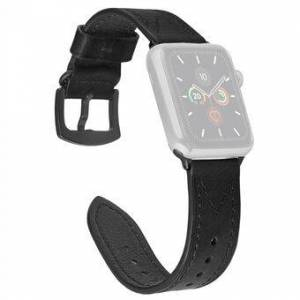 M-formad sömmar äkta läderklockarmband för Apple Watch Series 6 / SE / 5/4 40mm / Series3 / 2/1 38mm