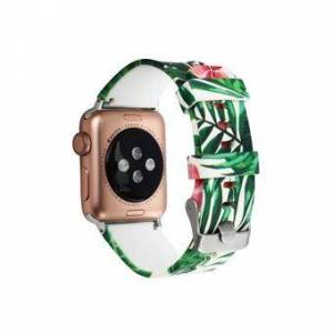 Flower Pattern Soft Silicone Wrist Strap Watch Band for Apple Watch Series 6 SE 5 4 40mm / Series 3 2 1 38mm