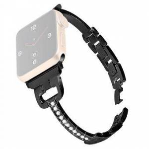 Bling Rhinestone Decor Stainless Steel Smart Watch Replacement Strap for Apple Watch Series 1/2/3 42mm / Series 4/5/6/SE 44mm