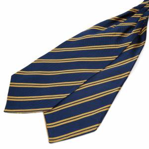 Trendhim Marineblå Silkekravat med Gyldne Dobbeltstriber