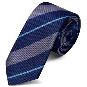Trendhim Silkeslips 6 cm med Grå og Blå Striber