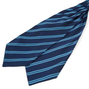 Trendhim Marineblå Silkekravat med Blå Dobbeltstriber
