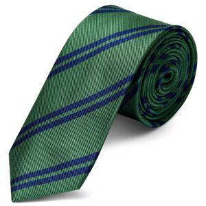 Trendhim Grønt 6 cm Silkeslips med Marineblå Dobbeltstriber