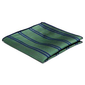 Trendhim Grøn Silkelommeklud med Marineblå Dobbeltstriber