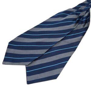 Trendhim Silkekravat med Marineblå, Lyseblå og Grå Striber