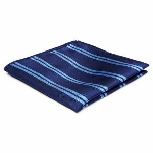 Trendhim Marineblå Silkelommeklud med Lyseblå Dobbeltstriber