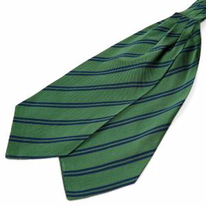 Trendhim Grøn Silkekravat med Marineblå Dobbeltstriber