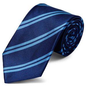 Trendhim Marineblåt Slips med Lyseblå Dobbeltstriber 8 cm