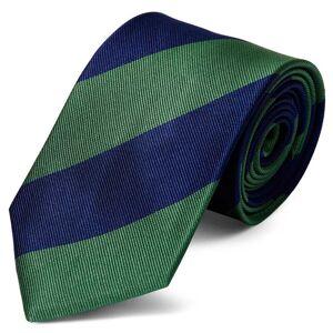 Trendhim Silkeslips med Grønne og Marineblå Striber 8 cm